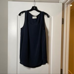 Lemaire Dark Navy Twisted Shoulder Sleeveless Top